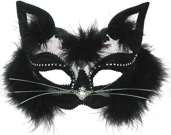 Amazon Com Black Transparent Cat Eye Mask Clothing