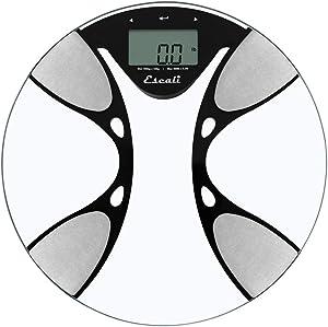 Escali BFBW180 Bath Body Fat and Water Round Bath Scale, LCD Digital Display, Clear/Black