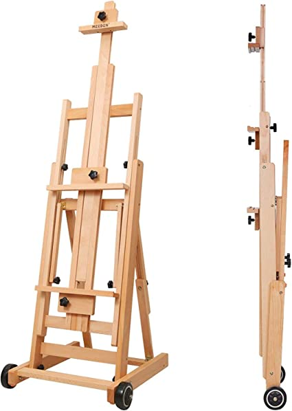 ATWORTH Versatile Beech Wood Artist Floor Easel Adjustable Painting Easel Stand Movable and Tilting Flat Available Heavy Duty Extra Large H-Frame Studio Easel
