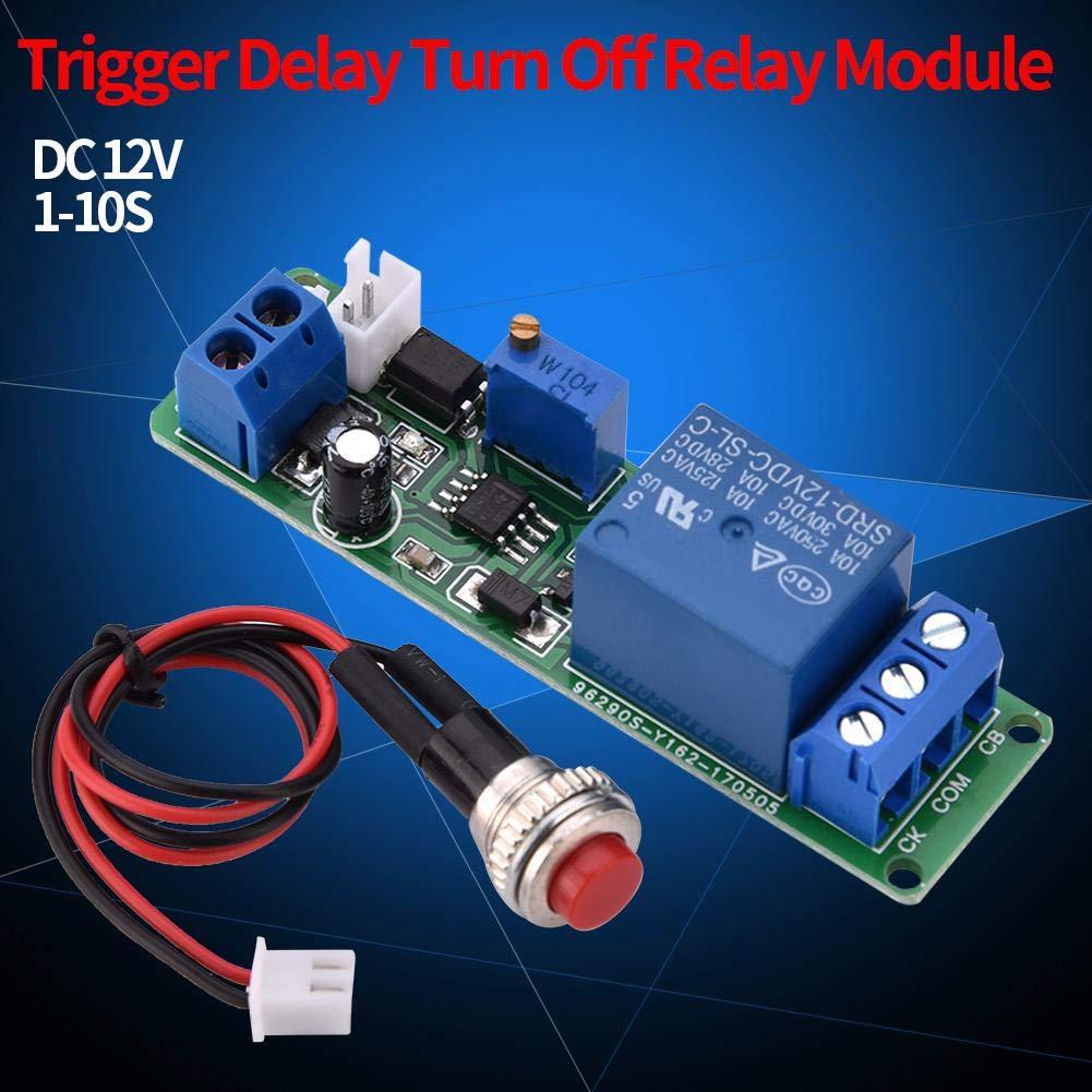 koulate Retard de temporisation r/églable 12V DC D/ésactiver la Commutation du Module Relais temporis/é 1~10sec