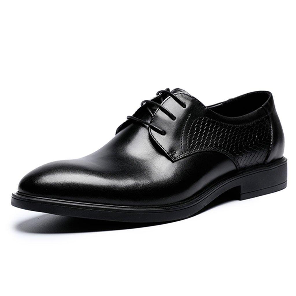 GAOLIXIA Zapatos de cuero de negocios de los hombres de negocios zapatos de los hombres de punta clásica zapatos casuales de lujo de la moda zapatos de trabajo de bodas (Color : Black, tamaño : 40) 40 Black