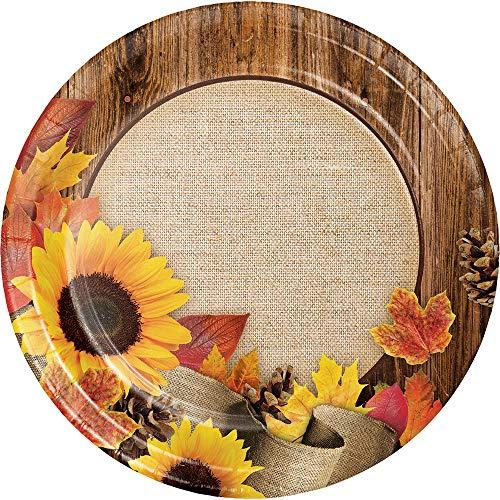 Sunflower Burlap Wood Grain Fall Leaves Autumn Crafts Dinner Plate Harvest Thanksgiving Weddings ()
