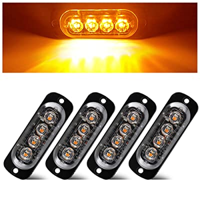 Teguangmei 4Pcs Ultra Thin 4LED Emergency Strobe Lights Universal Surface Mount 12-24V Emergency Warning Hazard Beacon Flash Caution Light Bar for Car ATVs Truck (Amber): Automotive