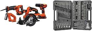 BLACK+DECKER 20V MAX Cordless Drill Combo Kit, 4-Tool (BD4KITCDCRL) & Screwdriver Bit Set/Drill Bit Set, 109-Piece (BDA91109)