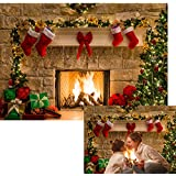Allenjoy 7x5ft Christmas Theme Tree Stove Sock Fireplace Gift Xmas Party Photography Christmas Backdrop for Pictures Decorations Background Photo Studio Props