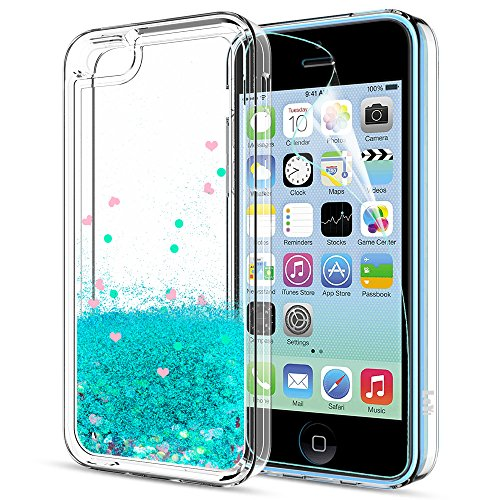 iPhone 5C Case,iPhone 5C Liquid Case with HD Screen Protector for Girls Women,LeYi Cute Design Shiny Glitter Moving Quicksand Clear TPU Protective Phone Case Cover for Apple iPhone 5C ZX Turquoise (5c Apple Phone)