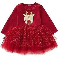 puseky Vestido de Alces de Navidad de Manga Larga para bebés Tul tutú Fiesta Vestido Especial Informal Regalos de Navidad