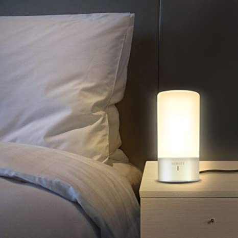 LUWATT Table Lamp Touch Sensor Bedside Dimmable Warm White Light Color Changing RGB Modern