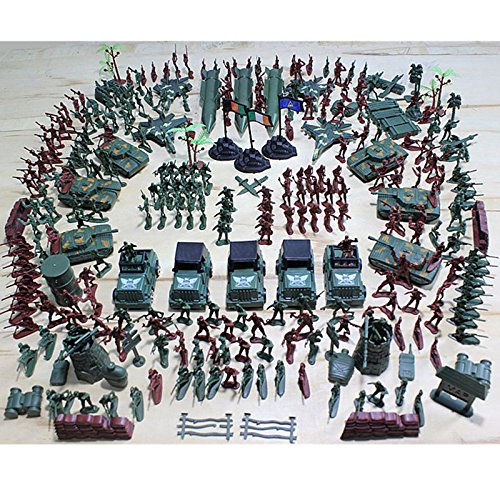 307 PCS Plastic Toy Soldiers Grenade Tank Aircraft Rocket Army Men Play Set Gift For Kids Boys