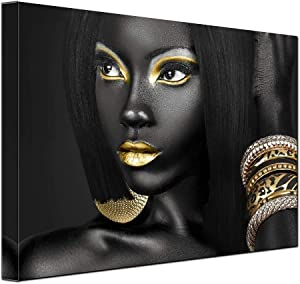 Egyptian Decor Queen Woman Portrait Artwork Gallery Canvas Prints Living Room Wall Decor Afican Black Art Paintings for Wall Art Frame Easy to Hang 12x16inch