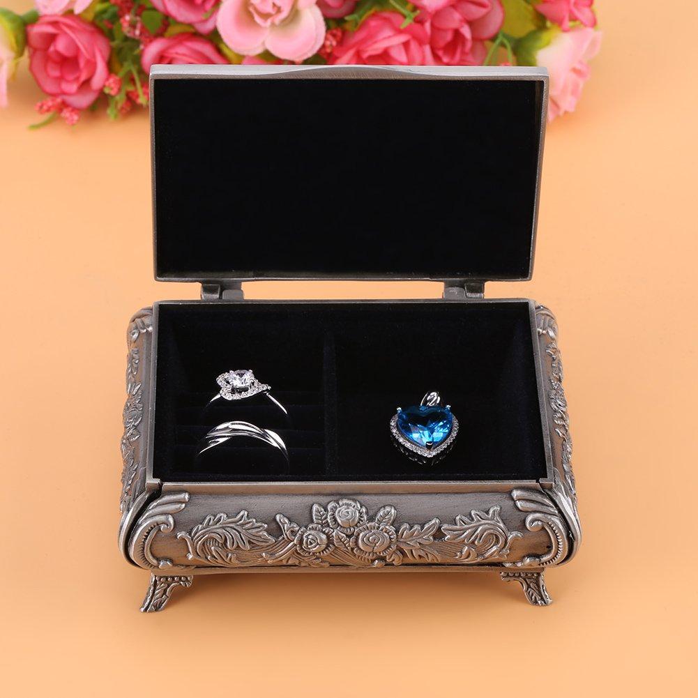 Joyero Estilo Vintage Rose flor tallada aleaci/ón de zinc caja de la joyer/ía Dise/ño creativo decoraci/ón colecci/ón joyer/ía caja de almacenamiento