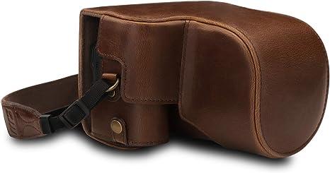 MegaGear MG1675 Estuche Ever Ready, Funda de Cuero, de Pronto Uso, con Correa Compatible con Nikon Coolpix B600: Amazon.es: Electrónica
