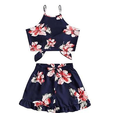 3f91f5011da Caopixx Two Piece Set,Women Summer 2pcs Outfit Flower Print Halter Bowknot  Top Casual Shorts