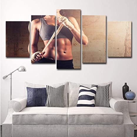 kssim HD Impreso 4 Piezas Canvas Art Fitness Sexy HD Gym ...