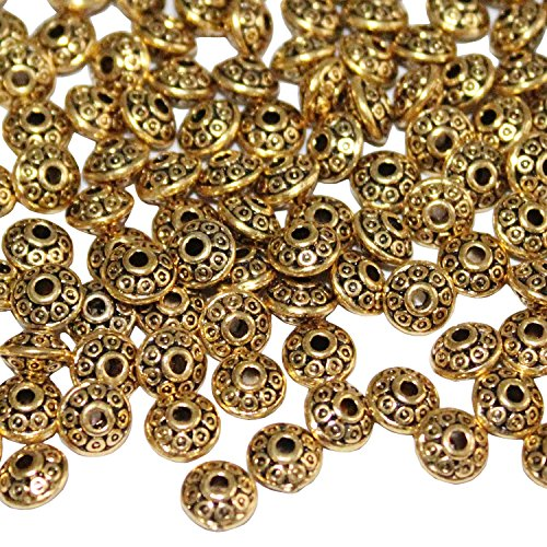 LJY 200 Pieces 6 mm Antique Spacer Beads European Style Beads for Jewelry Making (Golden)