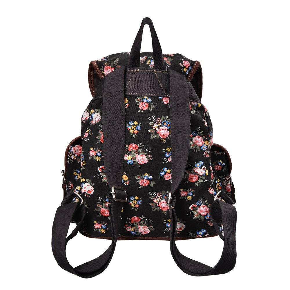 f113bd587c Douguyan Lightweight Backpack for Teen Young Girls Cute Backpack Print  Rucksack Black 163  Amazon.ca  Luggage   Bags