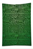 Nalahome Fleece Throw Blanket Digital Computer Art Backdrop with Circuit Board Diagram Hardware Wire Illustration Emerald Fern Green