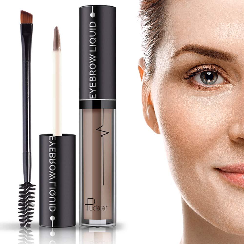 Waterproof Brow Gel- 24Hours Long Lasting Smudge-Proof Tinted Liquid Eyebrow Makeup Gels with Brush- Full, Natural Brows-Brown-4.5ml