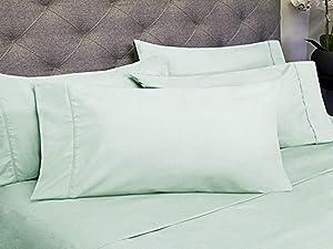 Sweet Home Collection 6 Piece 1800 Count Olivia Branch Microfiber Bedroom Sheet Set, Queen, Mint