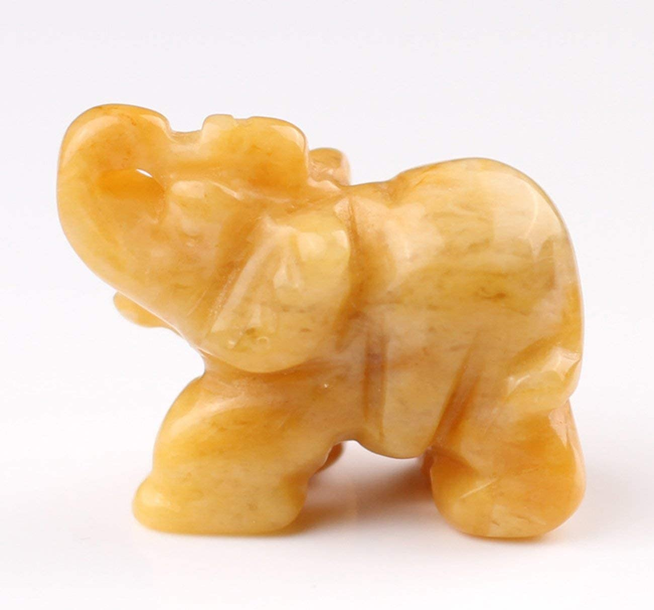 Brown Natural Jade Elephant Ornaments Hand-Carved Stone Elephant Crafts