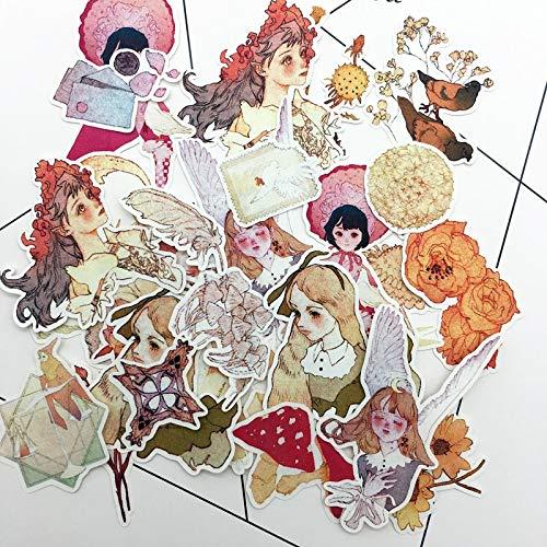 (29pcs Hand Drawing Fairy Tales Girl Sticker Dry Glue Notebook Planner Scrapbook Thin Paper Sticker (2pcs))