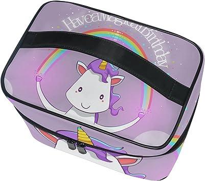 impermeable funda de viaje para mujer y ni/ña bolsa de almacenamiento con cremallera de alta calidad con compartimentos ajustables Neceser grande de maquillaje para neceser ISAOA Happy Unicorn