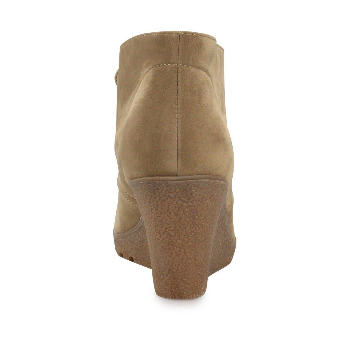 Keilstiefeletten in Velours-Optik - Schöne Stiefeletten mit Keilsohle zum Schnüren  passen zur Jeans genauso wie zum Rock khaki 41  Amazon.de  Schuhe   ... f620afc3fb