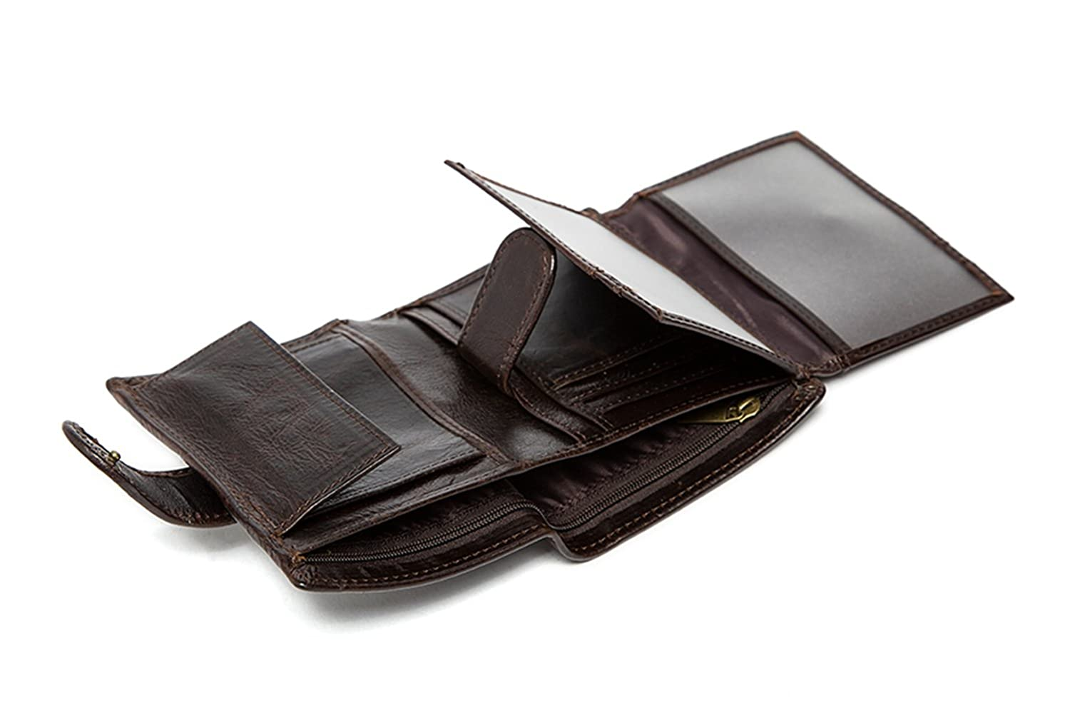 Real Leather Trifold short wallet with Button Coin Pocket and ID Window/for Men