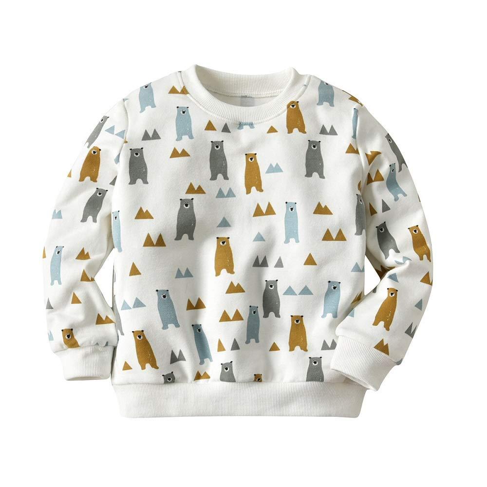 Kikibaby Toddler Baby Kids Girls Boys Bear Long Sleeve Soft Sweatshirt Tops T-Shirt Clothes