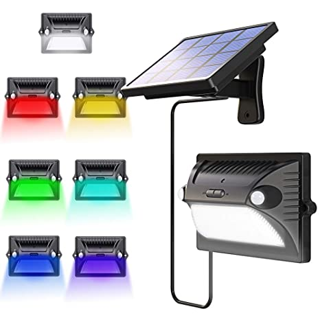 Solar Lights Outdoor, Bcway 7 Colors Changing Dual Motion Detector 180° Sensing [5