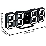 """DIMINUS 8.9"""" Large Display LED Alarm Clock, 2 USB ports, Snooze, Dimmer and Alarm Voice Control, Battery Backup and 12/24 Hours Display, Black"""