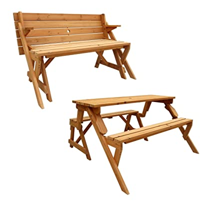 Amazon.com : Leisure Season Folding Picnic Table and Bench, Solid ...