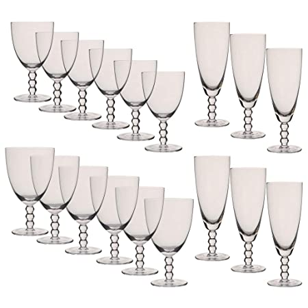 Bella Perle - Juego de copas de vino y agua (18 piezas): Amazon.es: Hogar