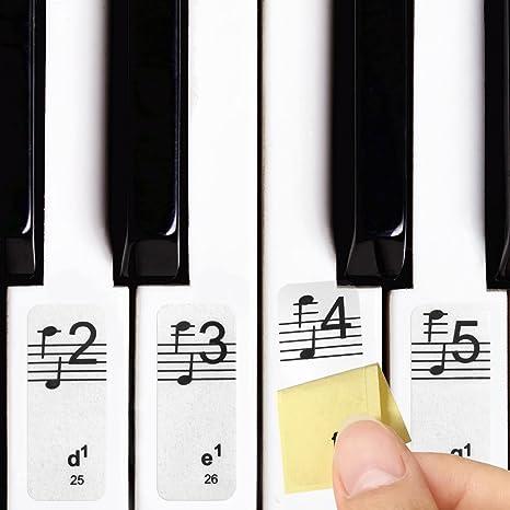 Pegatinas de notas de Lookka, transparentes, extraíbles, para pianos y teclados