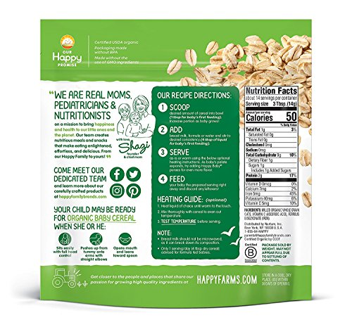61OuW2dpinL - Happy Baby Organics Clearly Crafted Cereal Whole Grains Oatmeal, 7 Ounce Bags (6 Count) Organic Baby Cereal In A Resealable Pouch With Iron To Support Baby's Brain Development A Great First Food