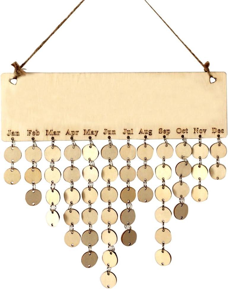 Ivinxy Birthday Memorandum Reminder Wooden Hanging DIY Calendar Plaque Board Home Party Decoration