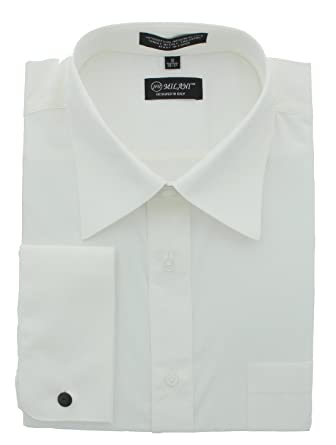 ea136db44025 Milani Standard Fit Dress Shirt with French Cuffs at Amazon Men's ...