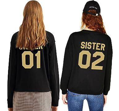 Best Friend Impresión Sudadera Sister 01 02 Suéter 2 Piezas Sweatshirt Manga Larga Dorado Hoodie Sin