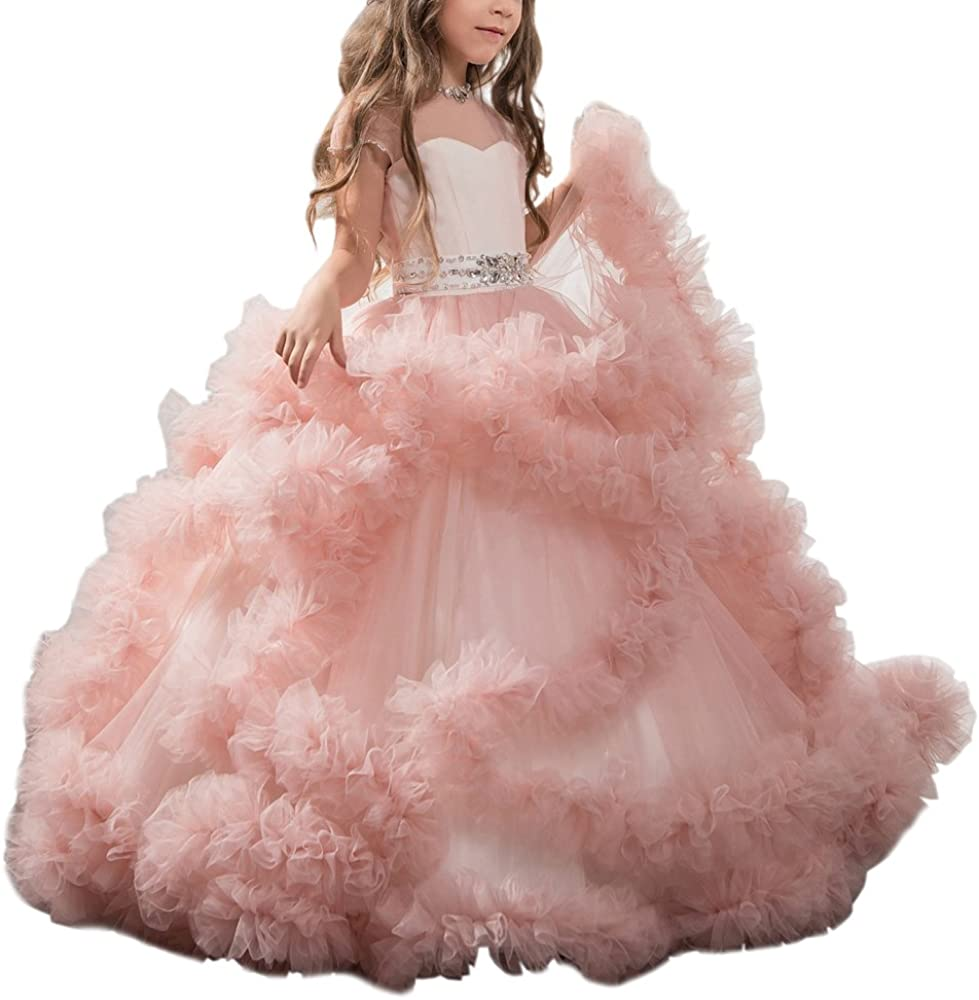 CDE Stunning V-Back Tulle Evening Dress Pageant Ball Gowns with Big Bow  Fancy Puffy Prom Dresses for Girls 6-16 Year Old