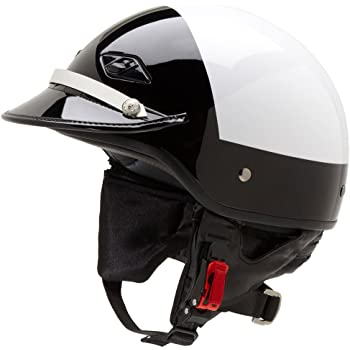 Official Police Motorcycle Helmet w/ Patent Leather Visor (Black/White, Size Small)
