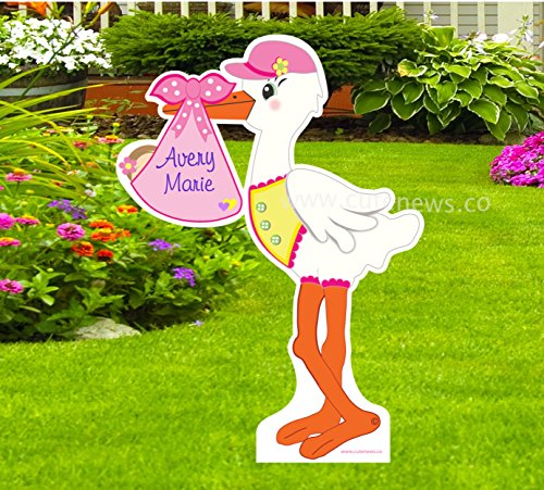 Birth Announcement Stork Girl (Custom It's a Girl Yard Stork Sign - Personalized Name Baby Girl Lawn Announcement - Baby Shower Party Decoration (Pink) 4 feet Tall)