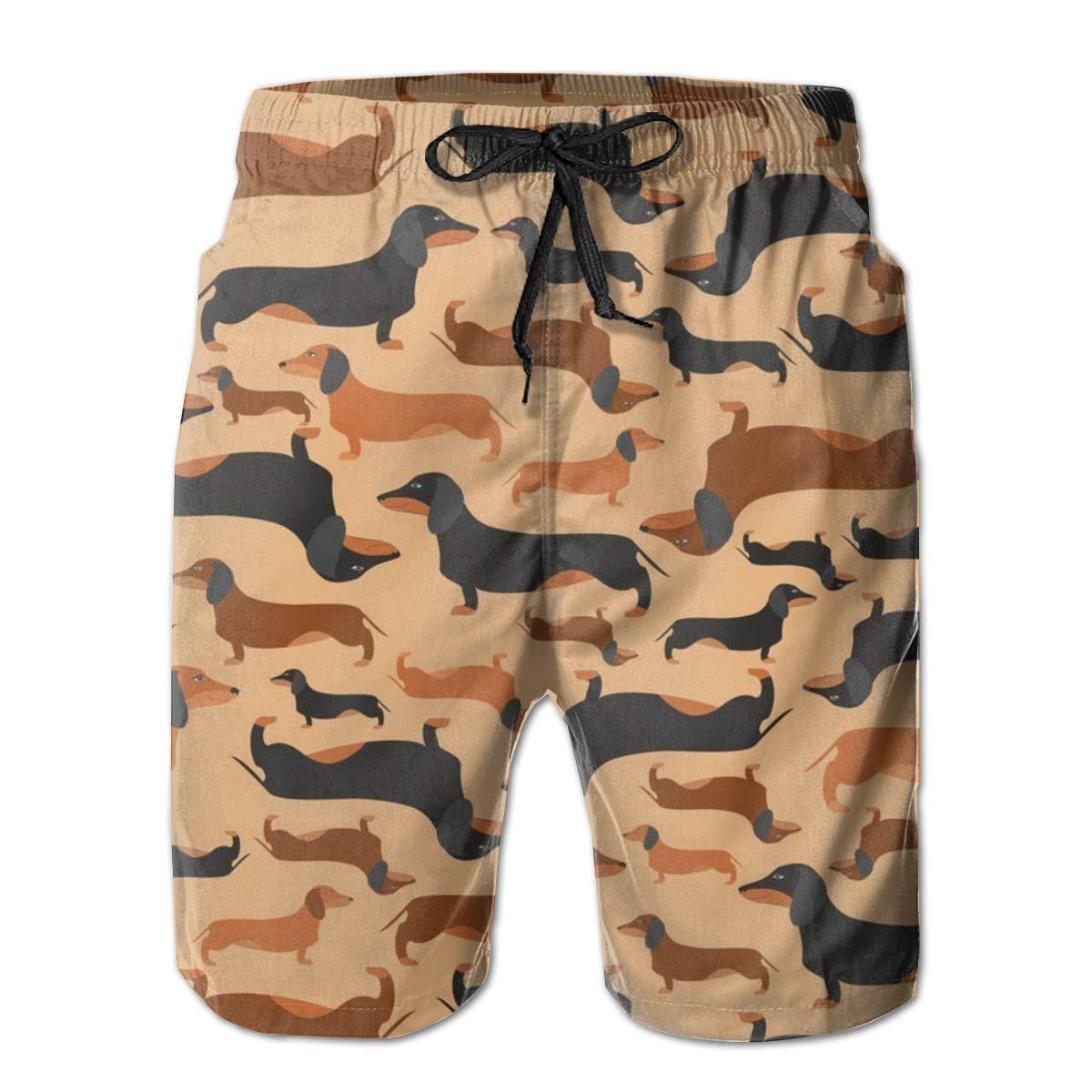 P-AKAS Mens Summer Quick Dry Beach Shorts - Retro Dachshunds Swim Surfing Trunks - Elastic Waist Drawstring Board Shorts