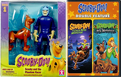 Scooby Doo Double Pack - Cartoon Network Scooby Doo 5 inch Figures Twin Pack - Scooby and the Phantom Racer + DVD Sea Monsters & Lock Ness Double Feature Animation