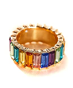 shaoyanger Rainbow Crystals Baguette Band Ring Stackable Eternity Band Cubic Zirconia Ring