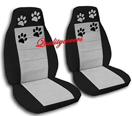 Amazon.com: 2 black and silver car seat covers with paw prints for a ...