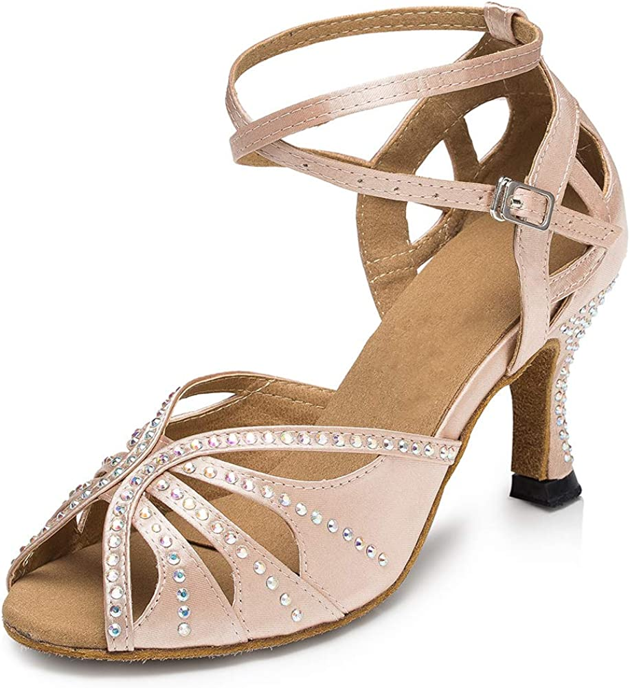 SWDZM Classique Chaussures Femme Latines en Rhinestone Satin