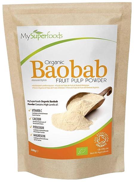 Polvo Orgánico Baobab (500 gramos) / MySuperFoods/Repleto de Vitamina C, Calcio