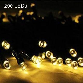 UxradG Solar-Lichterkette für den Außenbereich, wasserdicht, solarbetrieben, mit 100/50/200 LED für Weihnachten, Zuhause, Garten, Hof, Veranda, Gartenlichter (200 LED, warmweiß)