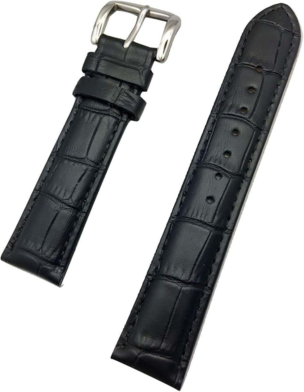 19mm Black Genuine Leather Watch Band   Square Alligator Crocodile Grained, Lightly Padded Replacement Wrist Strap that brings New Life to Any Watch (Mens Standard Length)
