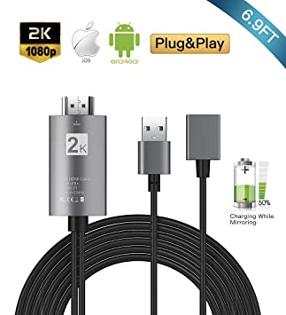 Cable HDMI 2 m, 3 en 1 cable de espejo para teléfono, compatible ...